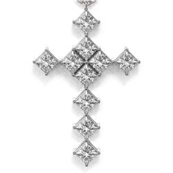 2 ctw Princess Diamond Designer Cross Necklace 18K White Gold - REF-228W2H
