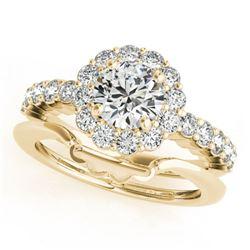 1.75 ctw Certified VS/SI Diamond 2pc Wedding Set Halo 14k Yellow Gold - REF-327A3N