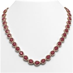 45.93 ctw Ruby & Diamond Micro Pave Halo Necklace 10k Rose Gold - REF-674K2Y