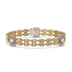 16.85 ctw Morganite & Diamond Bracelet 14K Yellow Gold - REF-324X4A