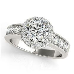 1.6 ctw Certified VS/SI Diamond Halo Ring 18k White Gold - REF-188F2M