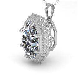 1 ctw VS/SI Oval Cut Diamond Necklace Art Deco 18k White Gold - REF-287G8W