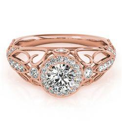 0.93 ctw Certified VS/SI Diamond Antique Ring 18k Rose Gold - REF-125H5R