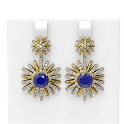 6.23 ctw Sapphire & Diamond Earrings 18K Yellow Gold - REF-239A3N