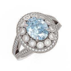 3.85 ctw Certified Aquamarine & Diamond Victorian Ring 14K White Gold - REF-165F3M