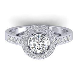 1.45 ctw Certified VS/SI Diamond Art Deco Micro Ring 14k White Gold - REF-217X3A