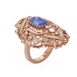 6.13 ctw Tanzanite & Diamond Ring 18K Rose Gold - REF-425N5F