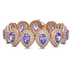 50.04 ctw Tanzanite & Diamond Victorian Bracelet 14K Rose Gold - REF-2636Y4X