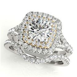 1.25 ctw Certified VS/SI Diamond 2pc Set Solitaire Halo 14k 2Tone Gold - REF-129H5R
