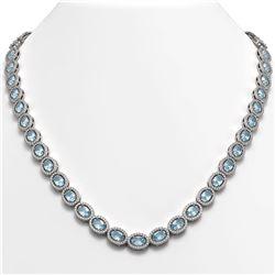 24.65 ctw Aquamarine & Diamond Micro Pave Halo Necklace 10k White Gold - REF-600M2G