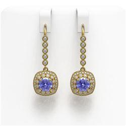 5.2 ctw Certified Tanzanite & Diamond Victorian Earrings 14K Yellow Gold - REF-172Y8X