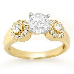 1.38 ctw Certified VS/SI Diamond Ring 14k Yellow Gold - REF-351R3K