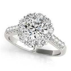 2 ctw Certified VS/SI Diamond Halo Ring 18k White Gold - REF-307H6R