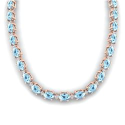 37.5 ctw Aquamarine & VS/SI Diamond Eternity Necklace 10k Rose Gold - REF-425H5R