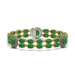 33.27 ctw Jade & Diamond Bracelet 14K Yellow Gold - REF-354X5A