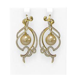 1.68 ctw Diamond & Pearl Earrings 18K Yellow Gold - REF-219G3W