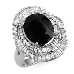 5.95 ctw Blue Sapphire & Diamond Ring 18k White Gold - REF-152Y8X