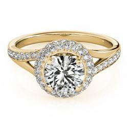 1.35 ctw Certified VS/SI Diamond Halo Ring 18k Yellow Gold - REF-162F3M