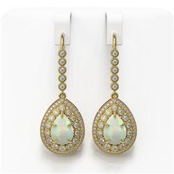 8.29 ctw Certified Opal & Diamond Victorian Earrings 14K Yellow Gold - REF-268A9N