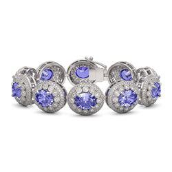 50.27 ctw Tanzanite & Diamond Victorian Bracelet 14K White Gold - REF-1704Y4X