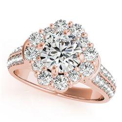 2.16 ctw Certified VS/SI Diamond Halo Ring 18k Rose Gold - REF-346K4Y