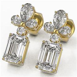 2.75 ctw Emerald Cut Diamond Designer Earrings 18K Yellow Gold - REF-446N5F