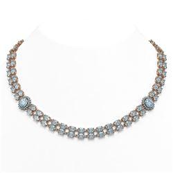 65.29 ctw Sky Topaz & Diamond Necklace 14K Rose Gold - REF-581Y8X