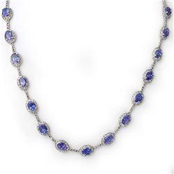 25.0 ctw Tanzanite & Diamond Necklace 14k White Gold - REF-318Y8X