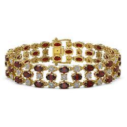 13.12 ctw Garnet & Diamond Row Bracelet 10K Yellow Gold - REF-209F3M