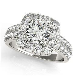 2.5 ctw Certified VS/SI Diamond Halo Ring 18k White Gold - REF-436N2F