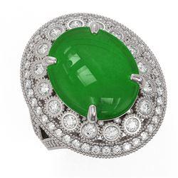 9.27 ctw Jade & Diamond Victorian Ring 14K White Gold - REF-245F5M