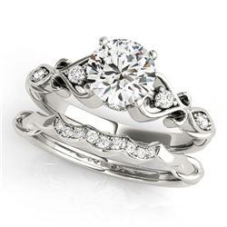 0.72 ctw Certified VS/SI Diamond 2pc Wedding Set Antique 14k White Gold - REF-106R4K