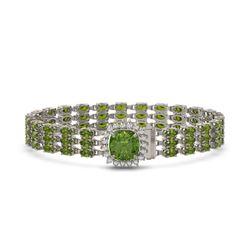 28.56 ctw Tourmaline & Diamond Bracelet 14K White Gold - REF-404Y8X