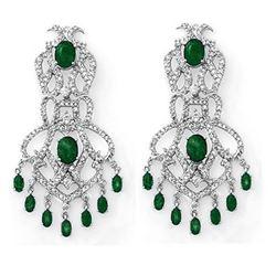 17.30 ctw Emerald & Diamond Earrings 18k White Gold - REF-510M5G