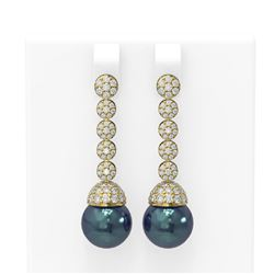 2.75 ctw Diamond & Pearl Earrings 18K Yellow Gold - REF-229N6F