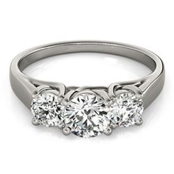 1 ctw Certified VS/SI Diamond 3 Stone Ring 18k White Gold - REF-115G3W