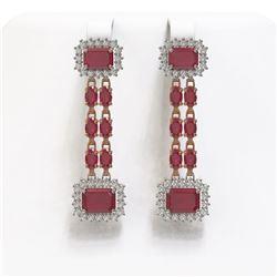 11.98 ctw Ruby & Diamond Earrings 14K Rose Gold - REF-214H8R
