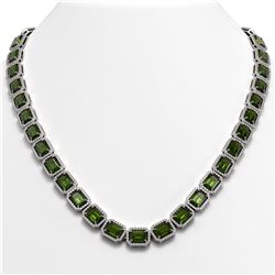 60.49 ctw Tourmaline & Diamond Micro Pave Halo Necklace 10k White Gold - REF-928A2N