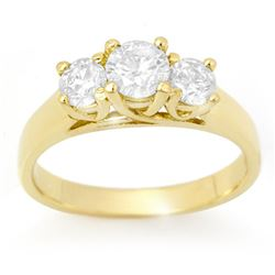 1.50 ctw Certified VS/SI Diamond 3 Stone Ring 14k Yellow Gold - REF-204R4K