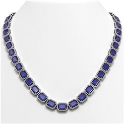 58.59 ctw Sapphire & Diamond Micro Pave Halo Necklace 10k White Gold - REF-731R3K