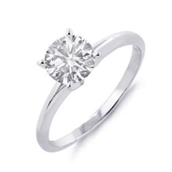 1.0 ctw Certified VS/SI Diamond Solitaire Ring 14k White Gold - REF-235M4G