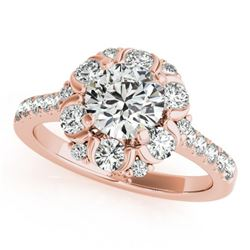1.8 ctw Certified VS/SI Diamond Halo Ring 18k Rose Gold - REF-187Y3X