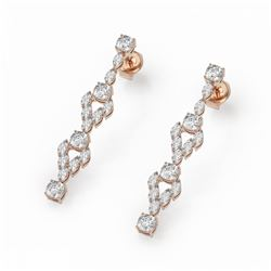 5.28 ctw Cushion & Marquise Diamond Earrings 18K Rose Gold - REF-621A3N