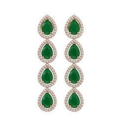 10.2 ctw Emerald & Diamond Micro Pave Halo Earrings 10k Rose Gold - REF-155R5K