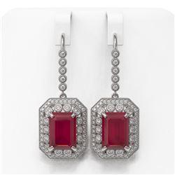 23.79 ctw Certified Ruby & Diamond Victorian Earrings 14K White Gold - REF-481Y6X