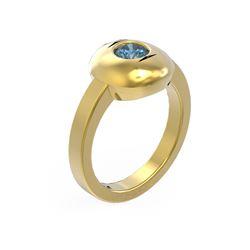 0.52 ctw Intense Blue Diamond Ring 18K Yellow Gold - REF-101Y3X