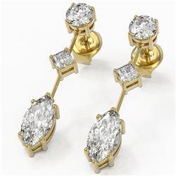 2.32 ctw Marquise Cut Diamond Designer Earrings 18K Yellow Gold - REF-312W8H