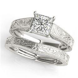 1 ctw Certified VS/SI Princess Diamond 2pc Set Wedding 14k White Gold - REF-316F2M