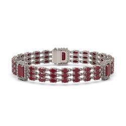 29.64 ctw Ruby & Diamond Bracelet 14K White Gold - REF-418H2R