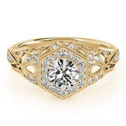 1.4 ctw Certified VS/SI Diamond Halo Ring 18k Yellow Gold - REF-307K5Y